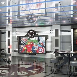 "5 of 7: Disney Magic - Marvel's Avengers Academy in Disney's Oceaneer Club on the Disney Magic invites young crime-fighters into a high-tech command post used by The Avengers for special missions and operations training. Throughout the base, displays featuring some of the equipment that make The Avengers the earth's mightiest heroes – Iron Man's suit of armor, Captain America's shield and Thor's hammer — inspire super hero ""recruits"" through their academy missions."