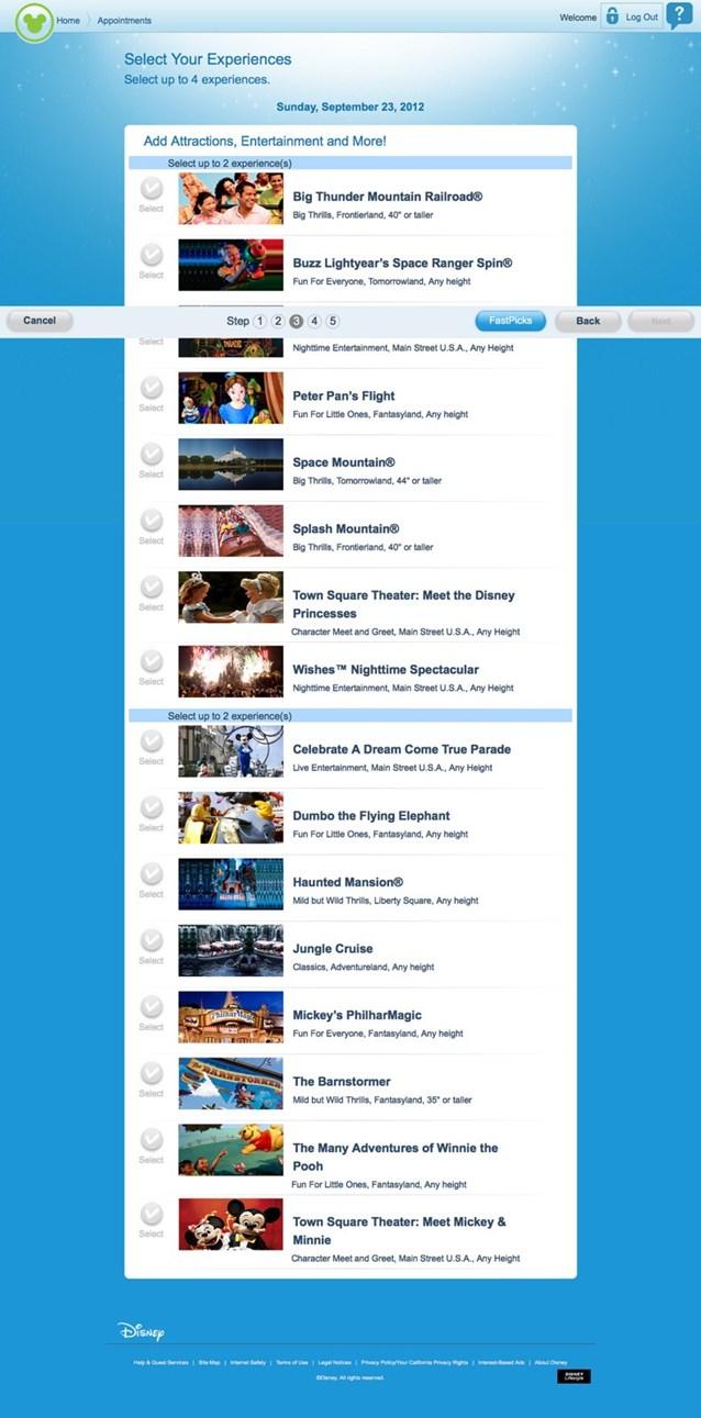 FASTPASS - FASTPASS+ website Step 3 - Add attractions, entertainment