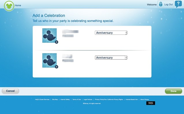 FASTPASS - FASTPASS+ website add a celebration