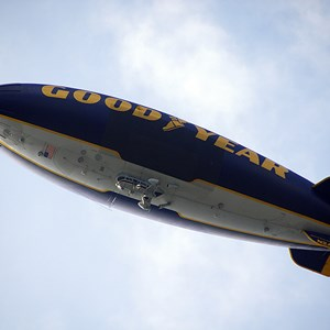 1 of 2: Goodyear Blimp at Walt Disney World - Goodyear Blimp over the Magic Kingdom for the Christmas Parade taping