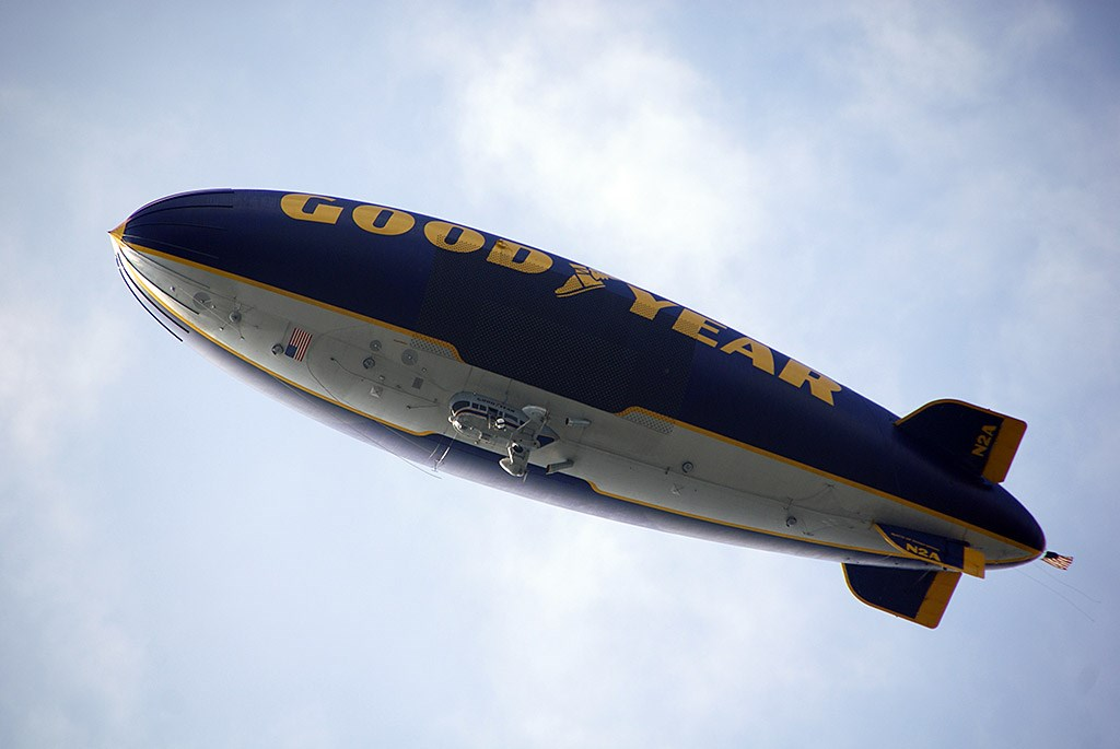 Goodyear Blimp over the Magic Kingdom for the Christmas Parade taping