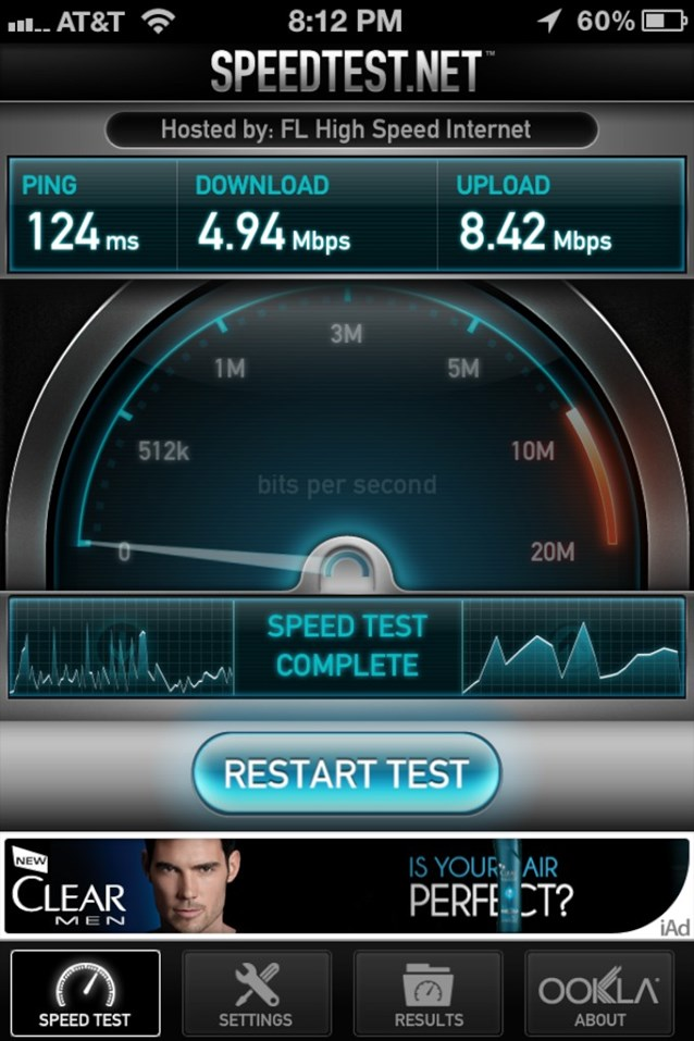Internet Access - Wi-Fi speed test at the Main Entrance turnstile area