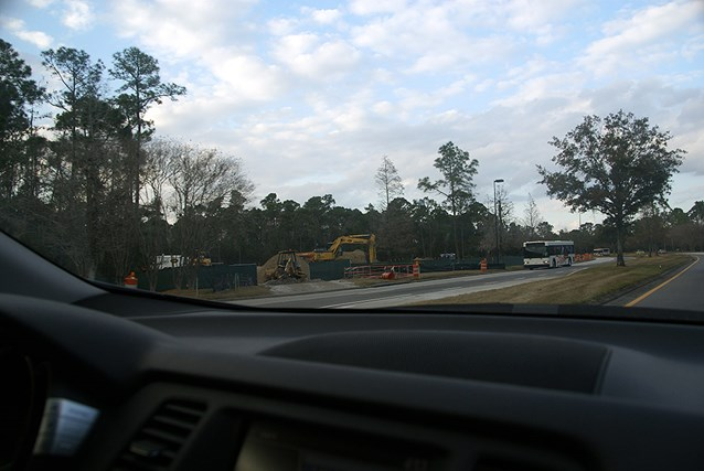 Kennels - The construction site is ahead on the left, the turn for Port Orleans Riverside is immediately to the right of the vehicle