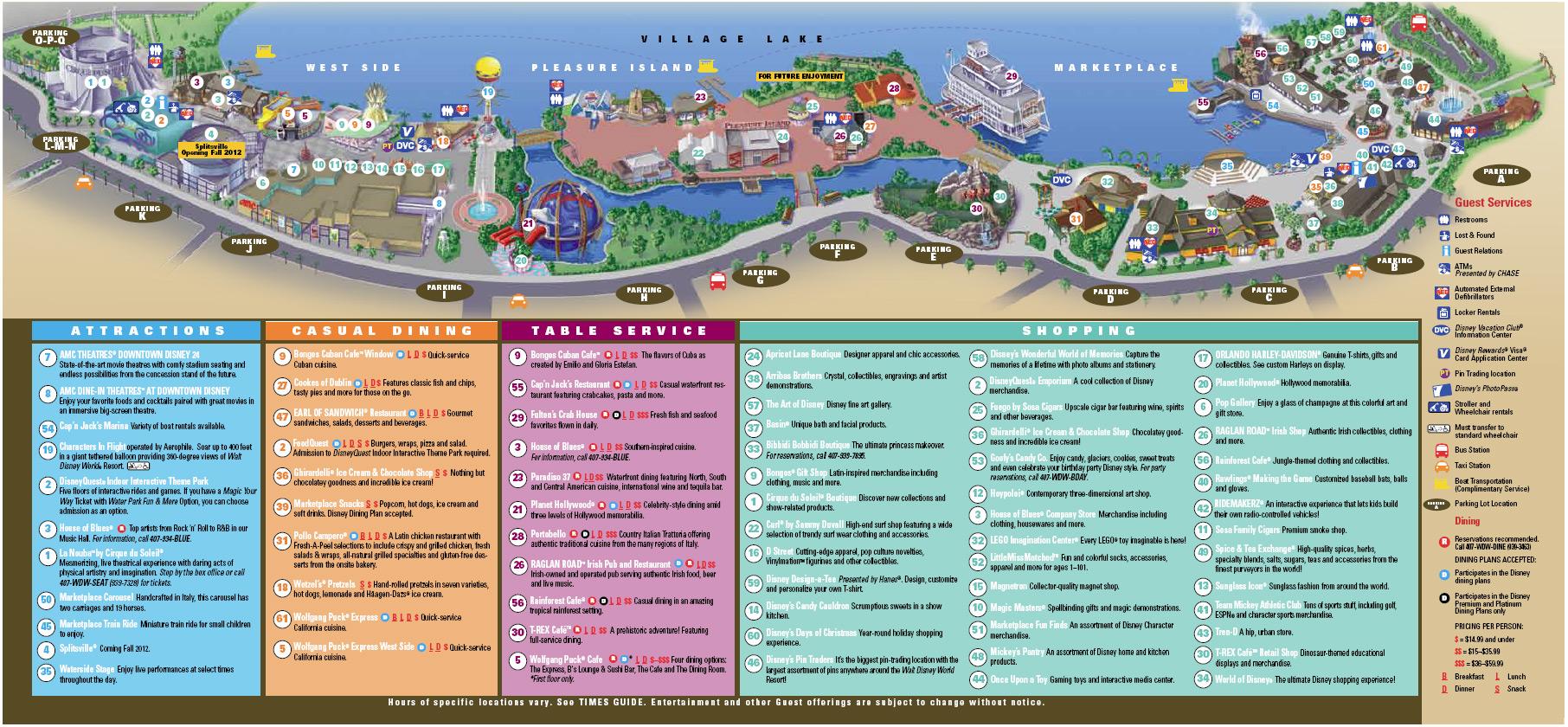 Downtown Disney Map September 2011 1 of 1