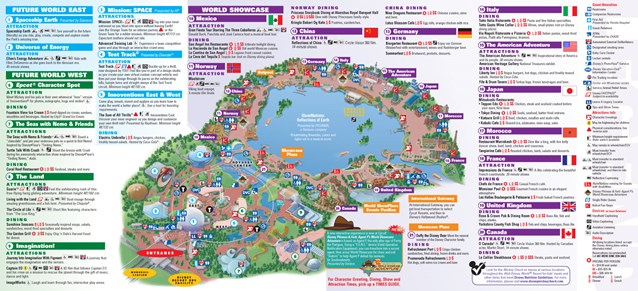 Walt Disney World Park and Resort Maps - Epcot guidemap January 2013