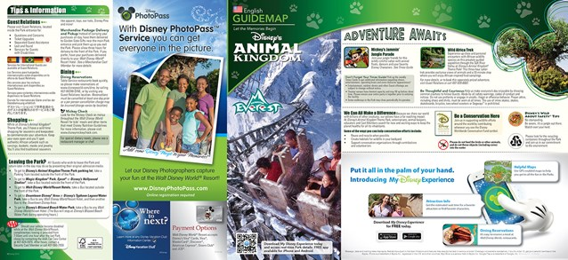 Walt Disney World Park and Resort Maps - New 2013 Animal Kingdom Guidemap Page 1