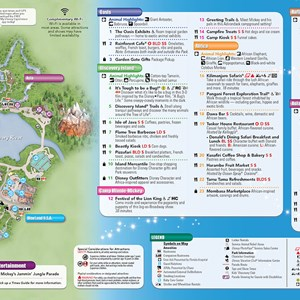 2 of 20: Walt Disney World Park and Resort Maps - New 2013 Animal Kingdom Guidemap Page 2