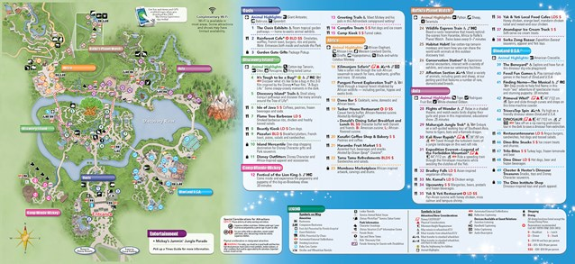 Walt Disney World Park and Resort Maps - New 2013 Animal Kingdom Guidemap Page 2