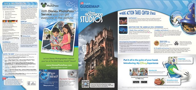 Walt Disney World Park and Resort Maps - New 2013 Disney's Hollywood Studios Guidemap Page 1