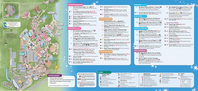 Walt Disney World Park and Resort Maps - New 2013 Disney's Hollywood Studios Guidemap Page 2