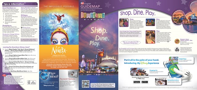 Walt Disney World Park and Resort Maps - New 2013 Downtown Disney Guidemap Page 1