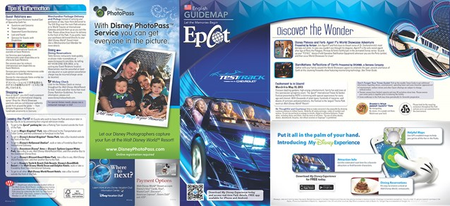 Walt Disney World Park and Resort Maps - New 2013 Epcot Guidemap Page 1
