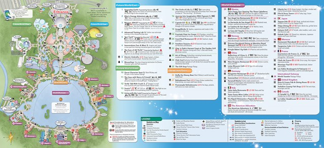 Walt Disney World Park and Resort Maps - New 2013 Epcot Guidemap Page 2