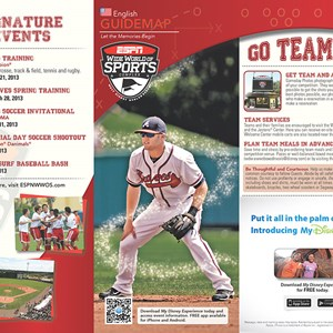 13 of 20: Walt Disney World Park and Resort Maps - New 2013 ESPN World of Sports Guidemap Page 1