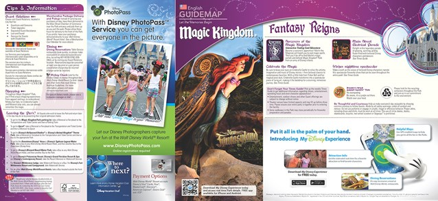 Walt Disney World Park and Resort Maps - New 2013 Magic Kingdom Guidemap Page 1