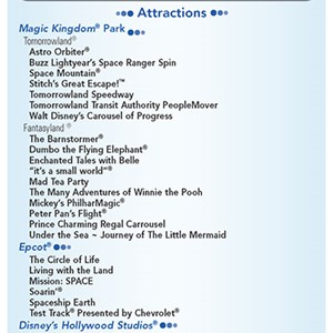 15 of 20: Walt Disney World Park and Resort Maps - New 2013 Morning EMH Times Guide Page 1