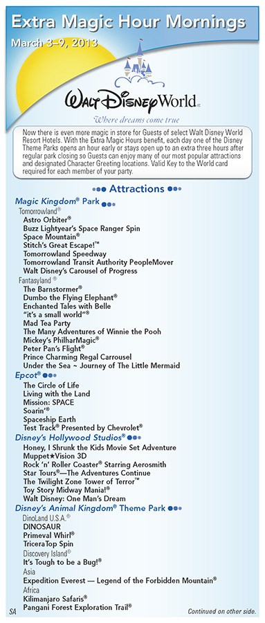 Walt Disney World Park and Resort Maps - New 2013 Morning EMH Times Guide Page 1