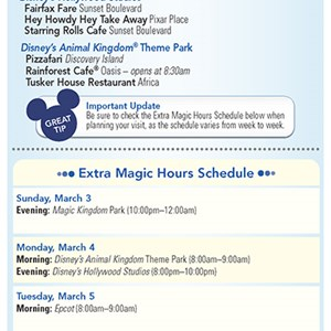 16 of 20: Walt Disney World Park and Resort Maps - New 2013 Morning EMH Times Guide Page 2