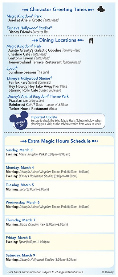 Walt Disney World Park and Resort Maps - New 2013 Morning EMH Times Guide Page 2