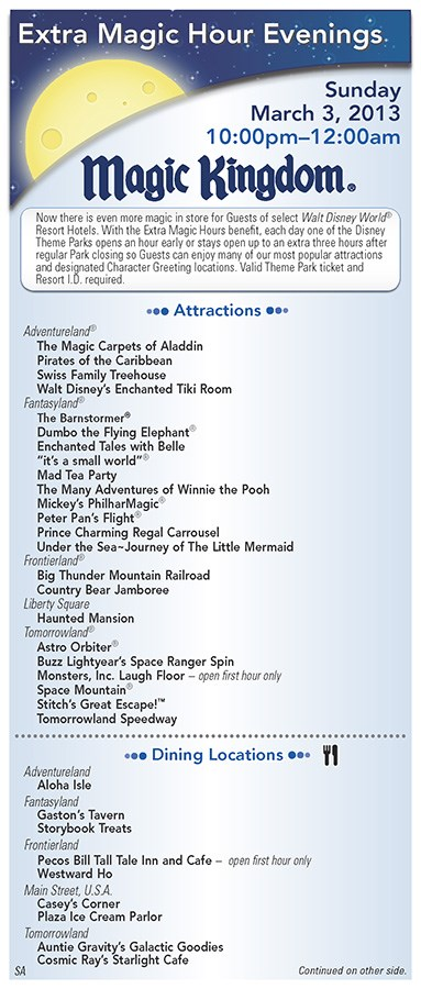 Walt Disney World Park and Resort Maps - New 2013 Evening EMH Times Guide Page 1