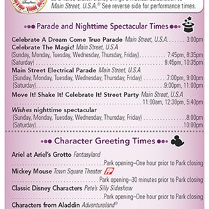 19 of 20: Walt Disney World Park and Resort Maps - New 2013 Times Guide Page 1