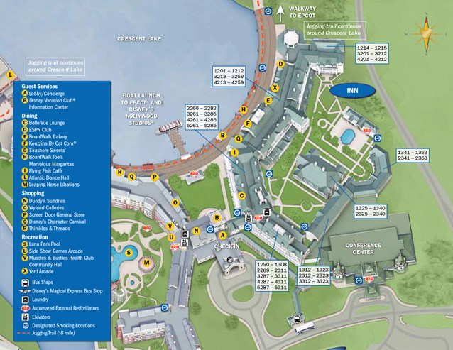 Walt Disney World Park and Resort Maps - New 2013 BoardWalk Inn Resort map