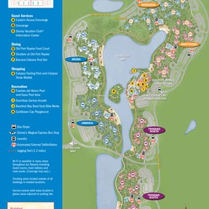7 of 37: Walt Disney World Park and Resort Maps - New 2013 Caribbean Beach Resort map - Jamaica and Aruba