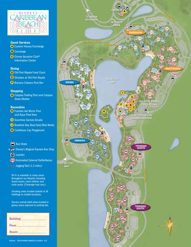 Walt Disney World Park and Resort Maps - New 2013 Caribbean Beach Resort map - Jamaica and Aruba