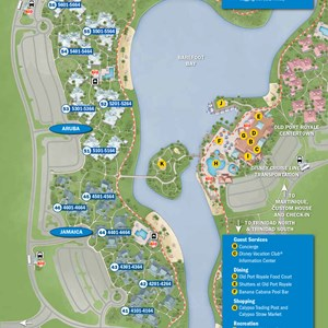 8 of 37: Walt Disney World Park and Resort Maps - New 2013 Caribbean Beach Resort map - Martinique and Barbados