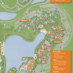 10 of 37: Walt Disney World Park and Resort Maps - New 2013 Caribbean Beach Resort map - Martinique and Barbados