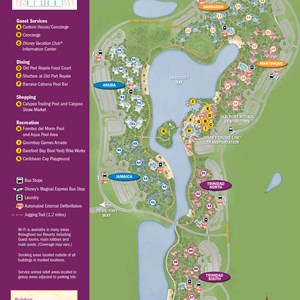 11 of 37: Walt Disney World Park and Resort Maps - New 2013 Caribbean Beach Resort map - Trinidad North and Trinidad South