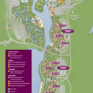 12 of 37: Walt Disney World Park and Resort Maps - New 2013 Caribbean Beach Resort map - Trinidad North and Trinidad South