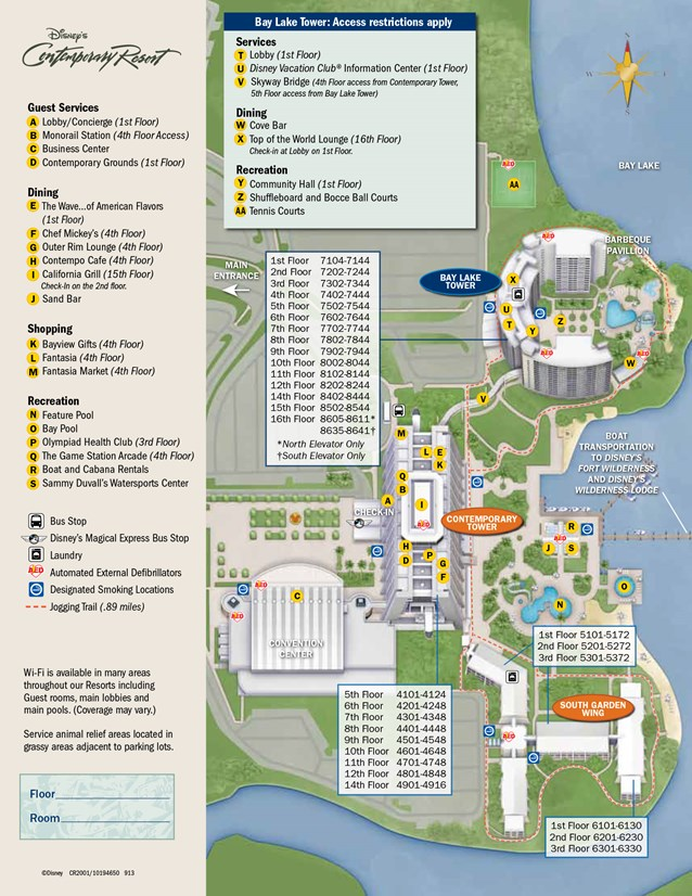 Walt Disney World Park and Resort Maps - New 2013 Contemporary Resort Resort map
