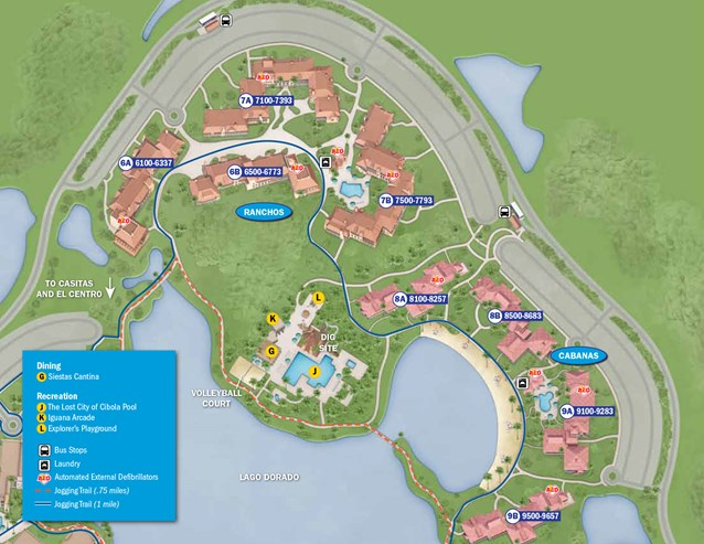 Walt Disney World Park and Resort Maps - New 2013 Coronado Springs Resort map - Cabanas and Ranchos