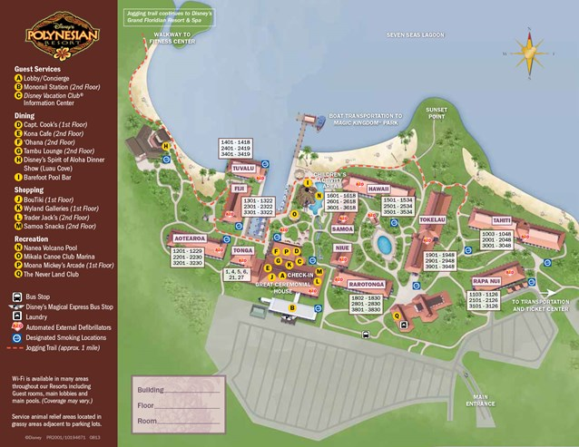 Walt Disney World Park and Resort Maps - New 2013 Polynesian Resort map