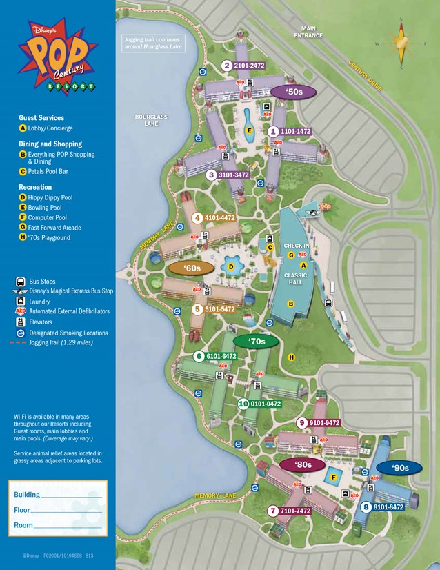 Walt Disney World Park and Resort Maps - New 2013 Pop Century Resort map