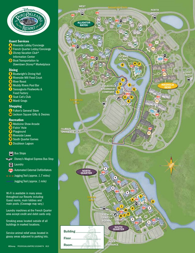Walt Disney World Park and Resort Maps - New 2013 Port Orleans Resort map - Alligator Bayou
