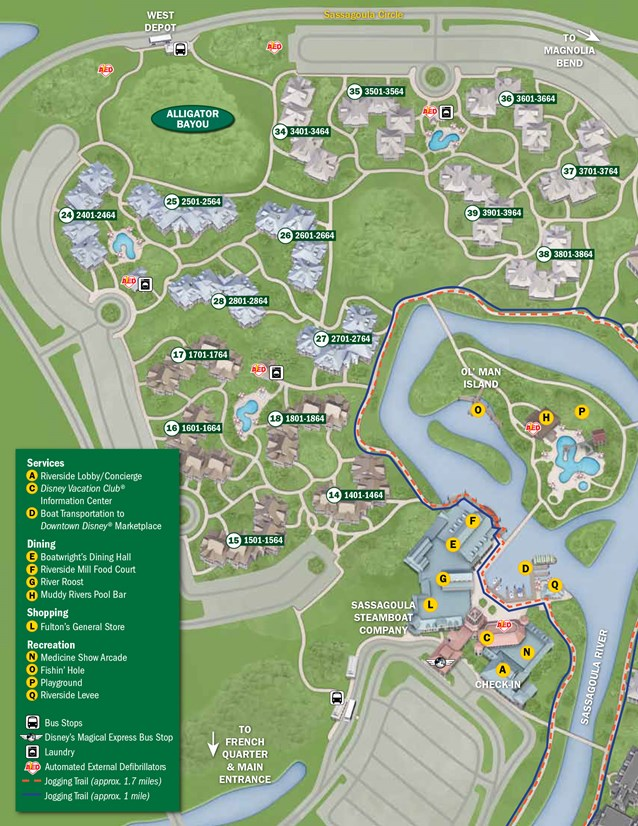 Walt Disney World Park and Resort Maps - New 2013 Port Orleans Resort map - Alligator Bayou