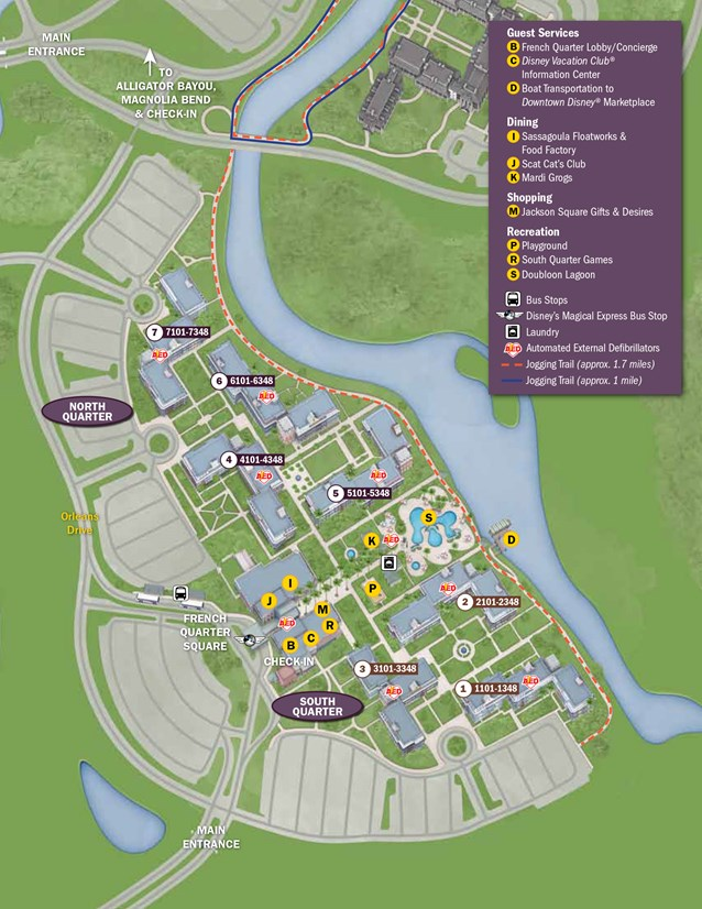 Walt Disney World Park and Resort Maps - New 2013 Port Orleans Resort map - French Quarter