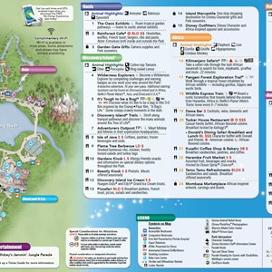 2 of 8: Walt Disney World Park and Resort Maps - 2014 Disney's Animal Kingdom guide map with FastPass+ details