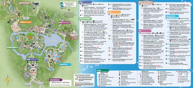 2014 Disney's Animal Kingdom guide map with FastPass+ details