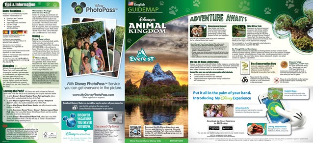 Walt Disney World Park and Resort Maps - 2014 Disney's Animal Kingdom guide map with FastPass+ details