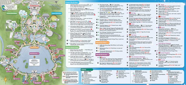 Walt Disney World Park and Resort Maps - 2014 Epcot guide map with FastPass+ details