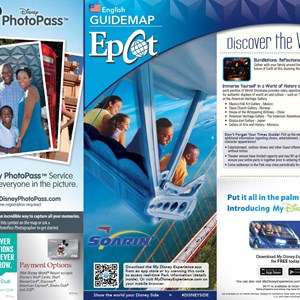 3 of 8: Walt Disney World Park and Resort Maps - 2014 Epcot guide map with FastPass+ details