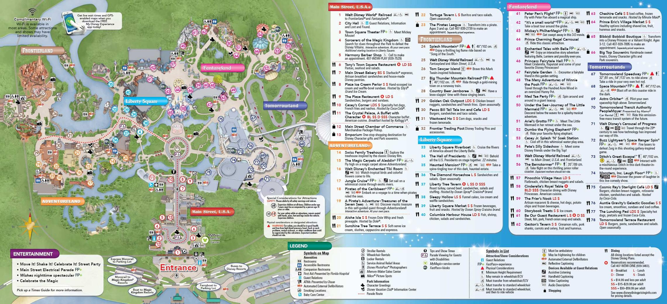 2014 Magic Kingdom guide map with FastPass+ details