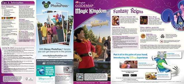 Walt Disney World Park and Resort Maps - 2014 Magic Kingdom guide map with FastPass+ details
