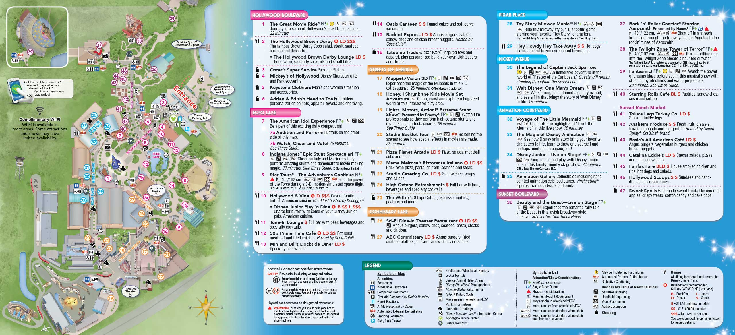 ... - 2014 Disney's Hollywood Studios guide map with FastPass+ details