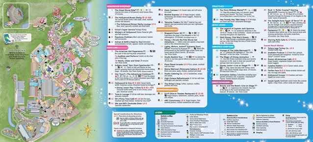 Walt Disney World Park and Resort Maps - 2014 Disney's Hollywood Studios guide map with FastPass+ details