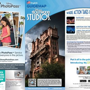 7 of 8: Walt Disney World Park and Resort Maps - 2014 Disney's Hollywood Studios guide map with FastPass+ details