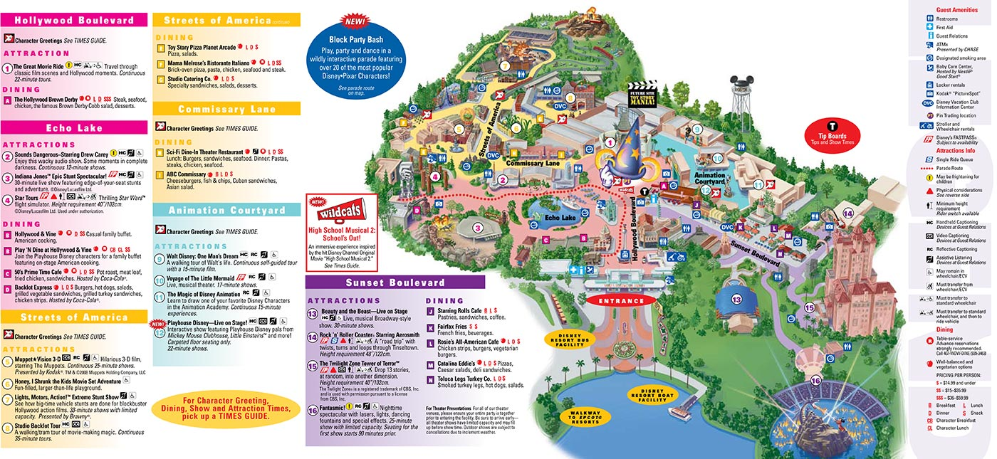 Disney World Park and Resort Maps - Disney's Hollywood Studios map